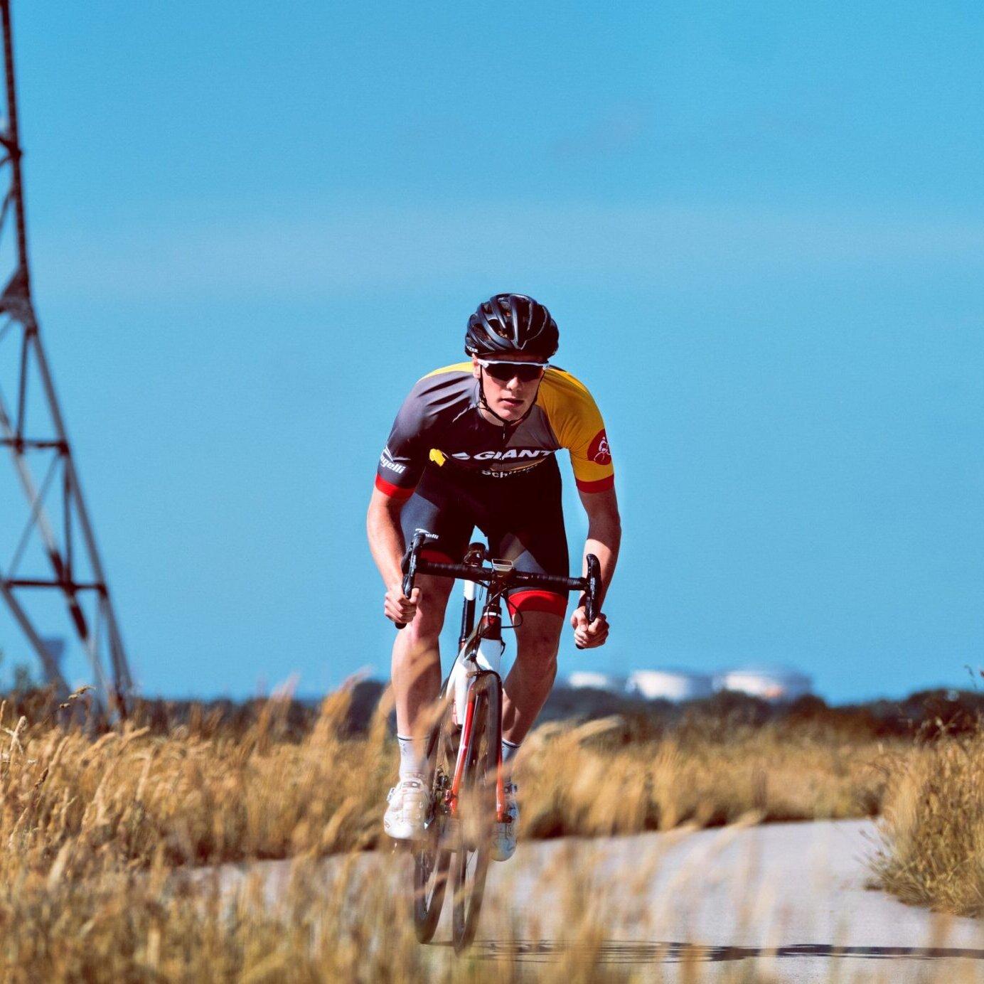 portfolio foto van wielrenner die sprint