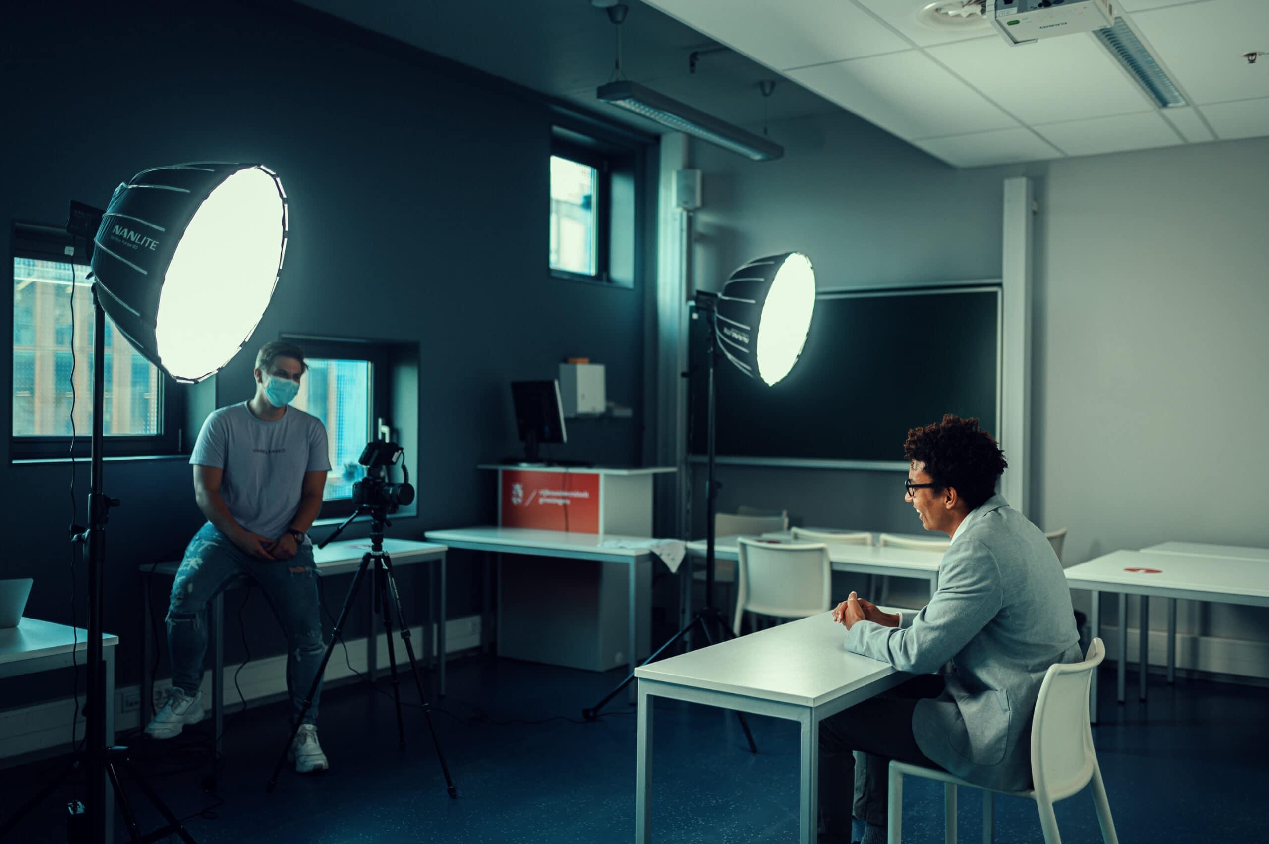 Behind the scnes tijdens filmproductie
